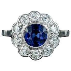 Antique Edwardian Sapphire Diamond Cluster Ring 1.25ct Sapphire Circa 1910