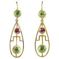 Art Deco Peridot Garnet Drop Earrings 9ct Gold Circa 1920