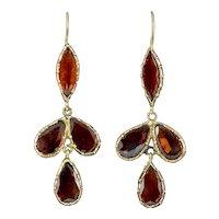 Antique Georgian Flat Cut Garnet Drop Earrings 18ct Gold Circa 1790