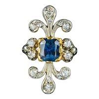 Antique French Edwardian Ring Australian Sapphire Diamond Circa 1915