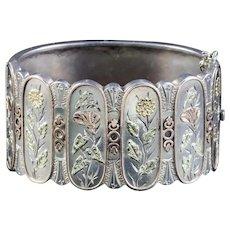 Antique Victorian Silver Floral Bangle Circa 1880