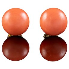 Vintage French Coral Stud Earrings 18ct Gold Mecan Circa 1970