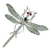 Antique Victorian Paste Dragonfly Brooch Silver Circa 1900