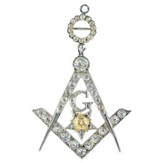 Antique Victorian Paste Freemasons Pendant Silver Circa 1860