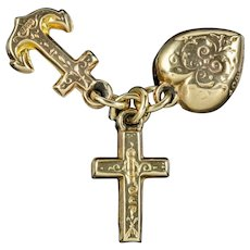 Antique Victorian Faith Hope And Charity Pendant Charms 9ct Gold Circa 1880
