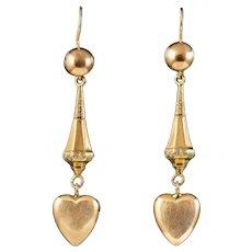 Antique Victorian Heart Drop Earrings 9ct Gold Circa 1880