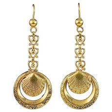 Antique Victorian Hoop Drop Earrings 9ct Gold Circa 1880
