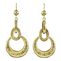 Antique Victorian Etruscan Revival Hoop Earrings 15ct Gold Circa 1870