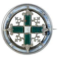 Antique Victorian Scottish Agate Brooch Silver Circa 1860