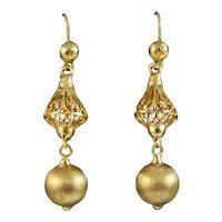Antique Victorian Drop Earrings 15ct Gold Circa 1890