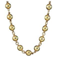 Antique Victorian Ball Necklace Silver 18ct Gold Gilt Circa 1880