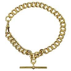Antique Edwardian Albert Bracelet Sterling Silver 18ct Gold Gilt Dated 1909