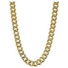 Antique Edwardian Curb Albert Chain Silver Gold Gilt Dated 1916