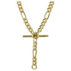 Antique Edwardian Figaro Albert Chain Silver Gold Gilt Dated 1918