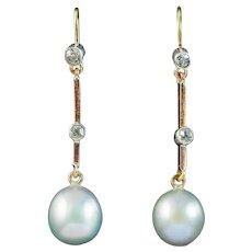 Antique Edwardian Pearl Diamond Drop Earrings 18ct Gold Circa 1910