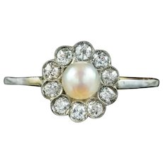 Antique Edwardian Pearl Diamond Daisy Ring Circa 1905