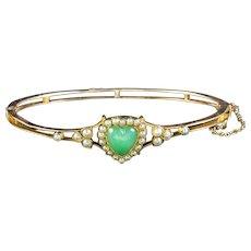 Antique Victorian Chalcedony Pearl Heart Bangle 18ct Gold Circa 1900