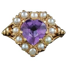 Vintage Amethyst Pearl Heart Ring Dated 1960