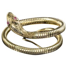 Vintage Snake Bangle Ruby Eyes 9ct Rolled Gold Smith And Pepper Dated 1962