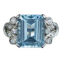 Art Deco Aquamarine Diamond Ring 5ct Aqua Circa 1920
