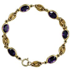 Antique Edwardian Amethyst Bracelet 9ct Gold Circa 1910
