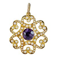 Antique Edwardian Amethyst Pearl Pendant 15ct Gold Circa 1905 Boxed