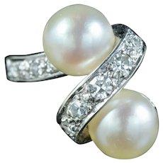 Art Deco French Pearl Diamond Toi Et Moi Ring Circa 1920