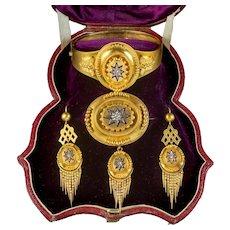 Antique Victorian Etruscan Diamond Parure Suite 18ct Gold Circa 1880 Boxed