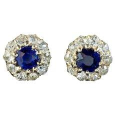 Antique Victorian Sapphire Diamond Stud Earrings 9ct Gold Circa 1900