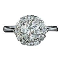 Antique Edwardian Diamond Cluster Ring 1.30ct Of Diamond Circa 1915