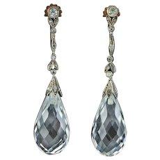 Art Deco Rock Crystal Drop Earrings Silver 9ct Gold Circa 1920