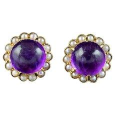 Vintage Amethyst Pearl Flower Stud Earrings 18ct Gold Circa 1970