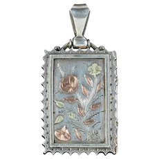 Antique Victorian Floral Locket Sterling Silver Dated 1880