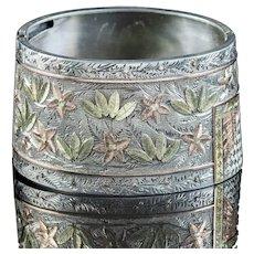 Antique Victorian Silver Floral Cuff Bangle Circa 1880