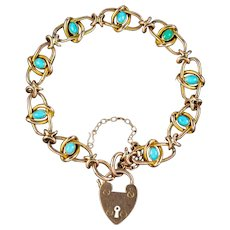 Antique Victorian Turquoise Bracelet 9ct Gold Heart Padlock Circa 1890