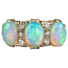 Antique Victorian Opal Diamond Ring 4ct Of Opal Circa 1900