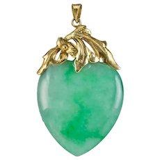 Antique Victorian Jade Heart Pendant 18ct Gold Circa 1900