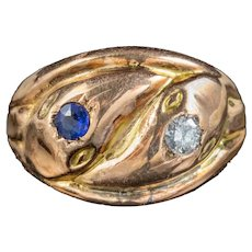 Antique Edwardian Sapphire Diamond Snake Ring Dated 1917