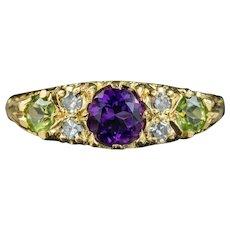 Antique Edwardian Suffragette Ring Amethyst Diamond Peridot Circa 1910