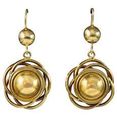 Antique Victorian Knot Drop Earrings 15ct Gold Circa 1880