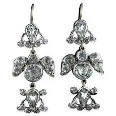 Antique Georgian Paste Bird Earrings Long Paste Earrings Silver Gold