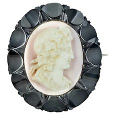 Antique Victorian Coral Cameo Brooch Whitby Jet Frame Circa 1860