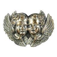Antique Victorian Cherub Brooch Silver Circa 1860