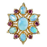 Vintage Opal Ruby Star Pendant 9ct Gold 5ct Of Opal Circa 1970
