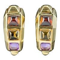 Vintage Amethyst Citrine Garnet Half Hoop Earrings 18ct Gold