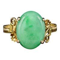 Art Deco Jade Ring 14ct Gold Circa 1930
