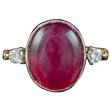 Antique Edwardian Cabochon Faux Ruby Diamond Ring Circa 1910