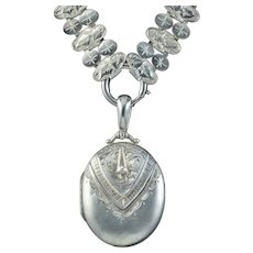 Antique Victorian Locket And Collar Necklace Sterling Silver Dated 1882
