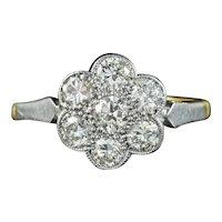 Antique Edwardian Diamond Daisy Ring 1.10ct Of Diamond Circa 1910