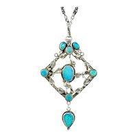 Antique Victorian Arts And Crafts Black Opal Pendant Necklace Silver Circa 1900